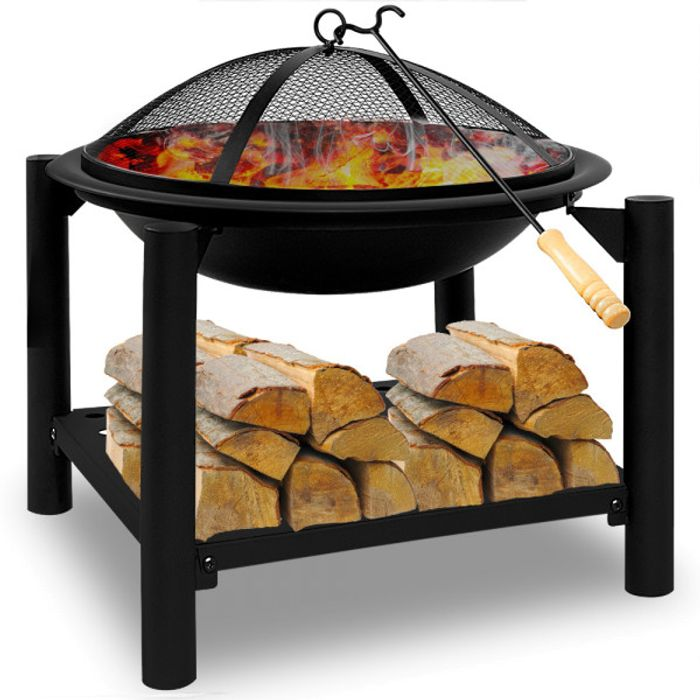 Fire Pit 50x50 round with Wood Shelf