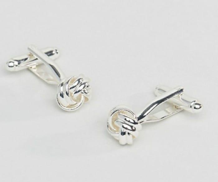 ASOS DESIGN Knot Cufflinks in Silver Tone