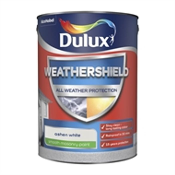 2 for £45 :Dulux Weathershield Smooth Masonry Paint - Ashen White - 5L