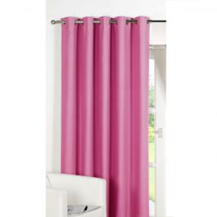 "Luxury Ring Top Fully Lined Blackout Eyelet Thermal Door Curtain Pink 66"" X 84"""
