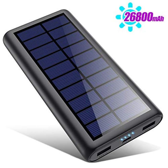 Solar Power Bank 26800mAh, HETP 2020 Newest Solar Portable Charger