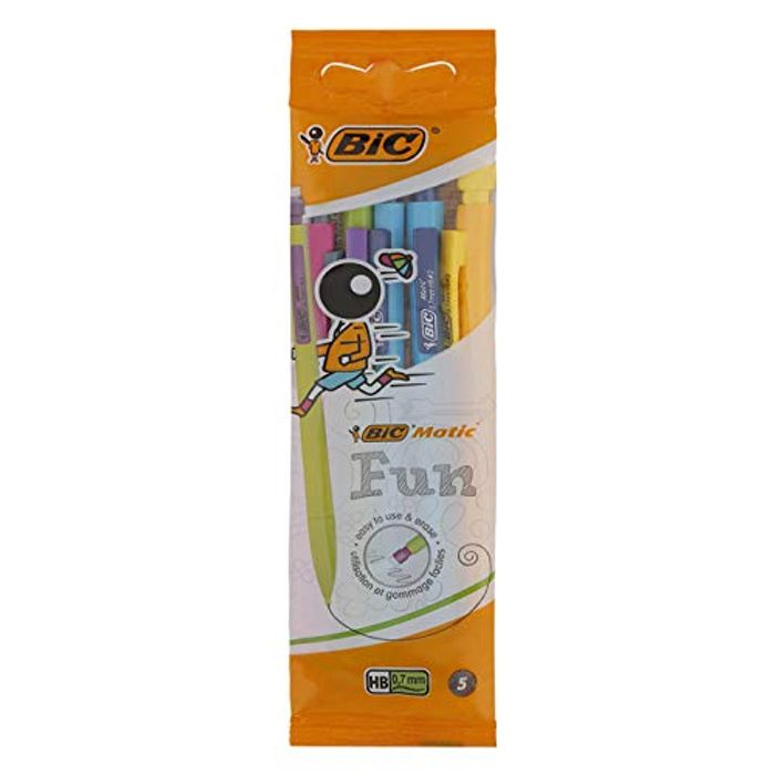 BIC Matic Fun 0.7mm Mechanical Pencils - Assorted Colours, Pouch of 5