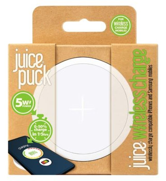 Juice Wireless Puck 5W White Save Extra £3 Use Code SAVE3ONLINE