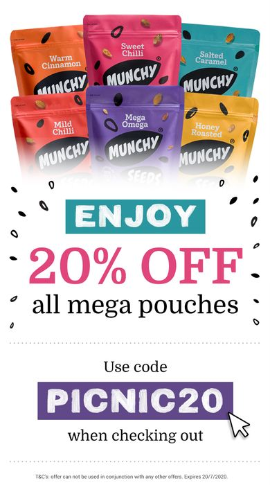 20% off All Mega Pouches at Munchy Seeds