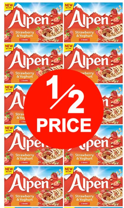 HALF PRICE! Alpen Strawberry and Yoghurt Bars (10 X 5 Bars, Total 50 )