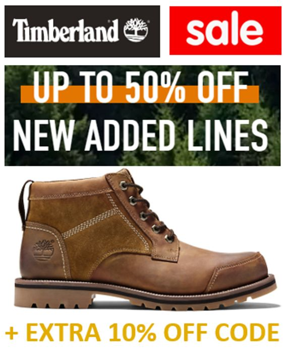 TIMBERLAND SALE - up to 50% OFF + EXTRA 10% CODE + FREE DELIVERY