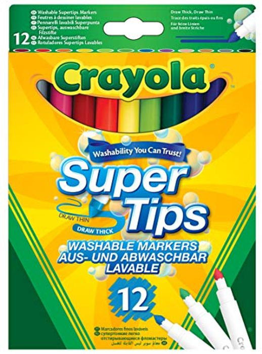 12 Crayola SuperTips Washable Felt Tip Colouring Pens