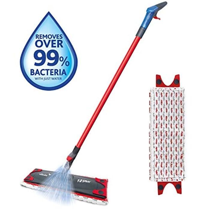 Vileda 1-2 Spray Microfibre Flat Spray Mop with Extra Microfibre Refill Pad