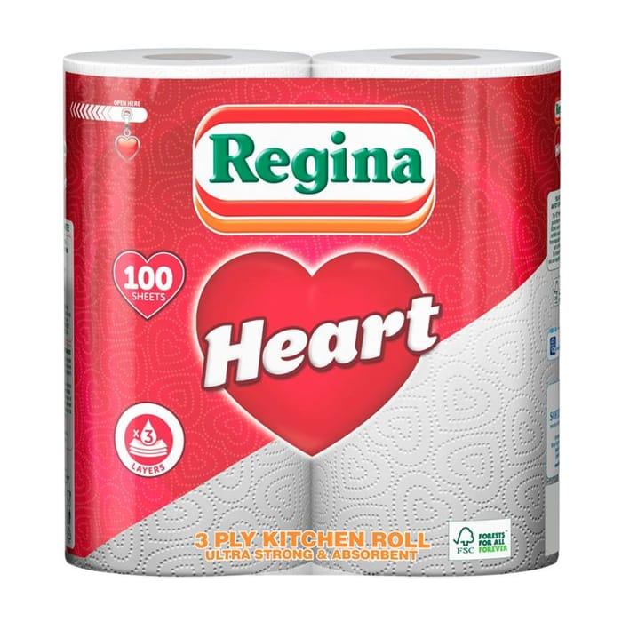 Regina Heart 3 Ply Kitchen Roll 2 Pack