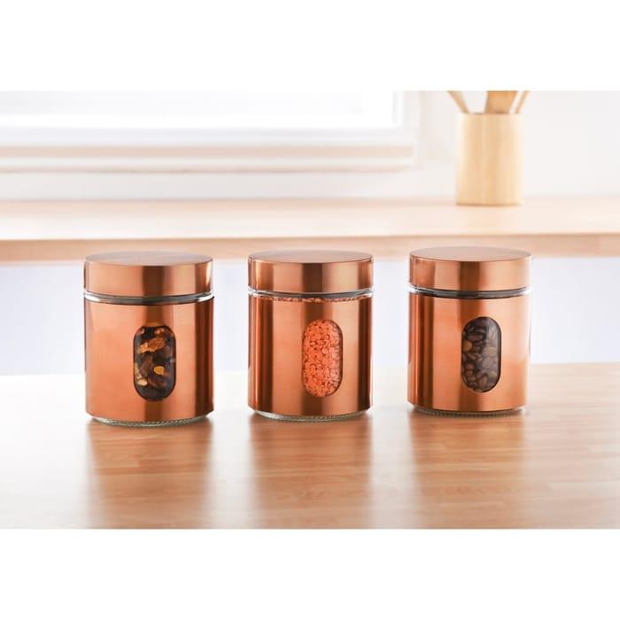 Glass Storage Canisters 3pk 4 Colours Copper White Black Chrome