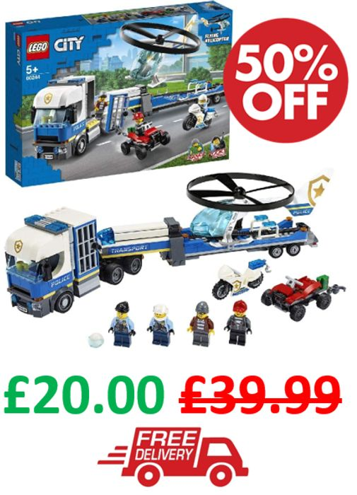 HALF PRICE & FREE DELIVERY! LEGO CITY - Police Helicopter Transport
