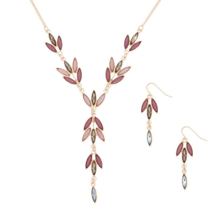 Gold Romantic Vine Jewellery Set - Lilac