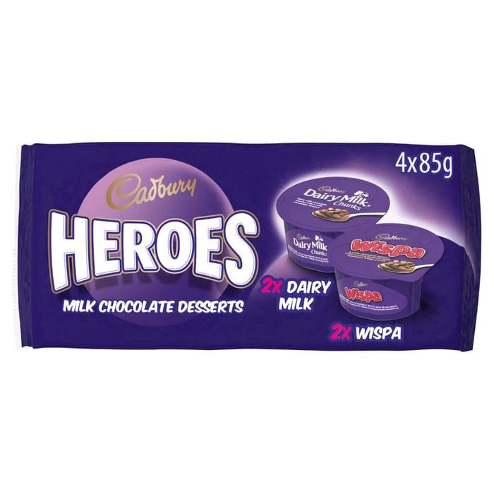 Cadbury Heroes Wispa & Dairy Milk Chocolate Desserts Variety Pack 4 X 85g
