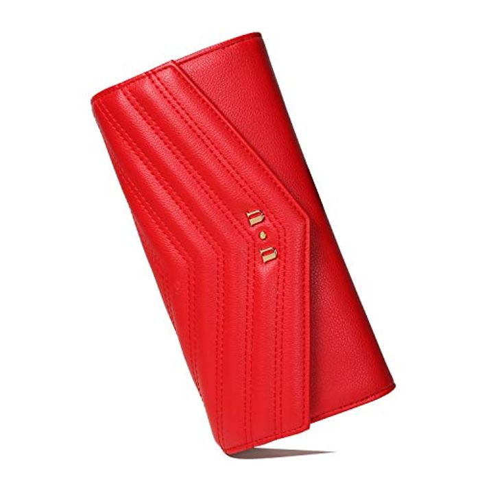 Save 50%- Red Leather Wallet Evening Clutch RFID