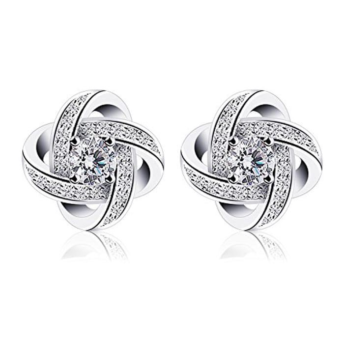 B.Catcher Earings for Woman Silver Earrings Studs Cubic Zirconia Gemini Sets
