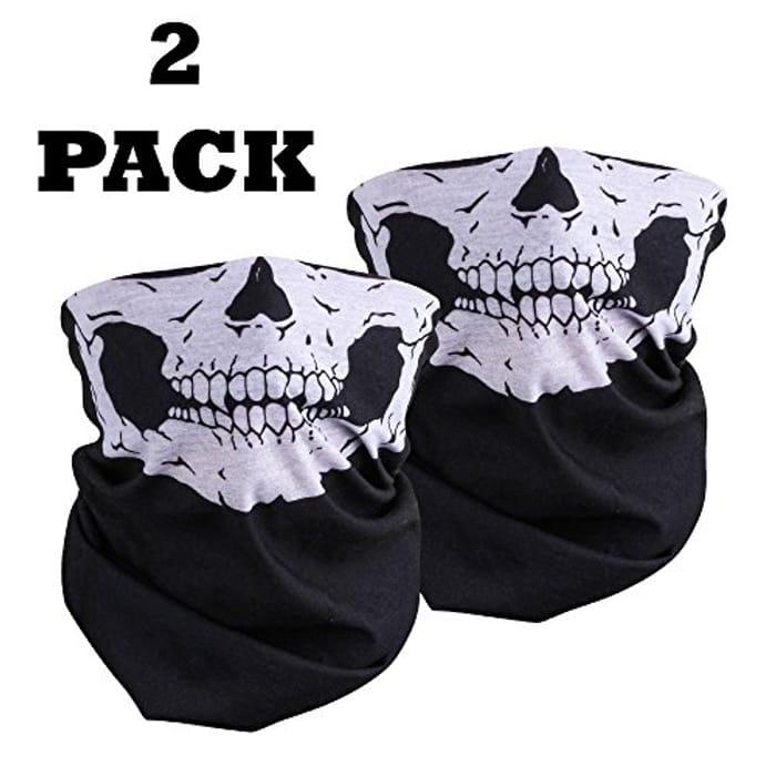 Cheap 2 X Half Face Skull Mask Skeleton Multi Use Bandana Tube Mask Only £1.38