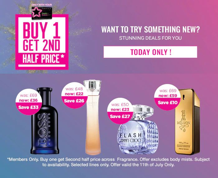 TODAY ONLY! Buy 1 Fragrance & Get 2nd Half Price - Works On Offers