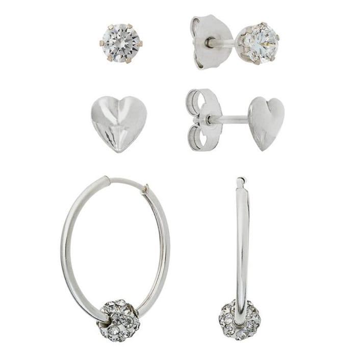 Revere Silver Stone Set Set of 3 Hoop and Stud Earrings