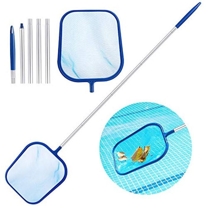 Pool Leaf Skimmer, Skimming Pool Net with 47 5-Section Aluminum Pole