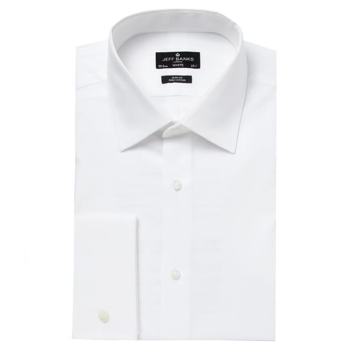 Jeff Banks - Designer White Cutaway Collar Slim Fit Shirt