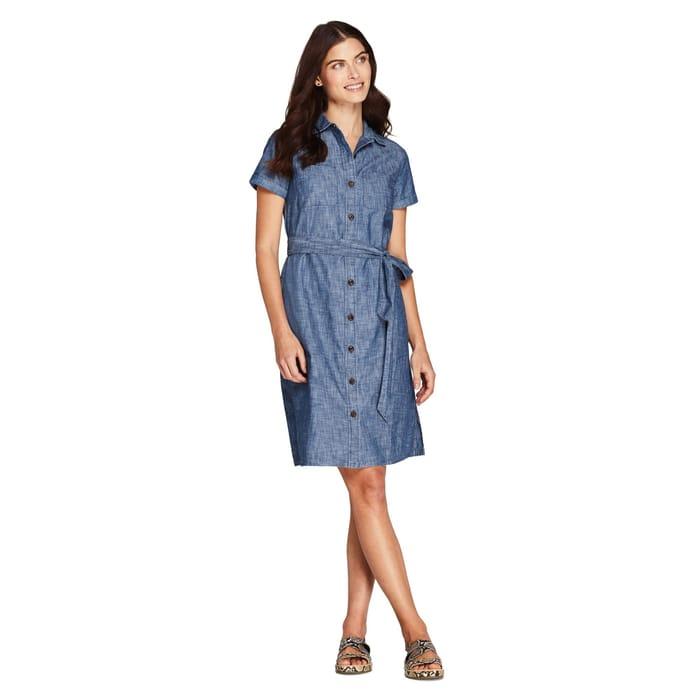 Lands' End - Blue Chambray Short Sleeves Utility Shirt Dress