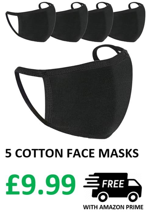 5 COTTON Face Masks - Washable