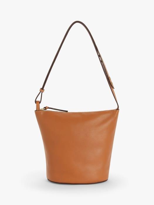John Lewis & Partners Leather Zipped Bucket Bag, Tan