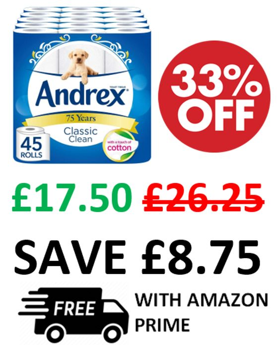 ANDREX DEAL! 45 Andrex Classic Clean Toilet Rolls