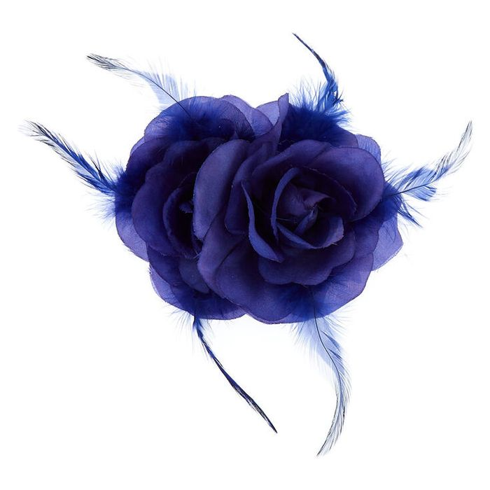 Double Rose Hair Flower Clip - Royal Blue