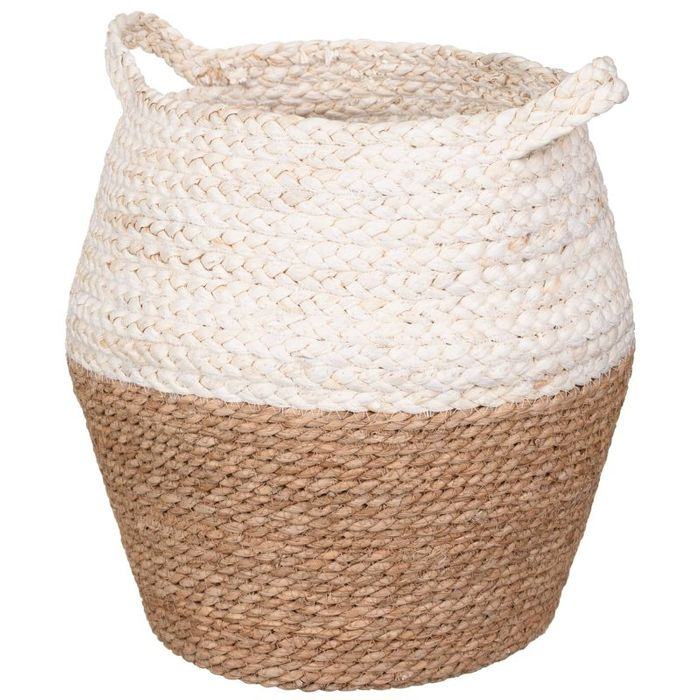 Two-Tone Wicker Basket Cream or Grey