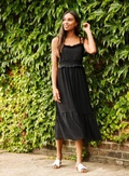 Black Mesh Strappy Midi Dress