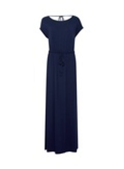 Navy Roll Sleeve Maxi Dress