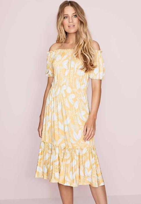 Womens Yellow and White Floral Print Bardot Dress