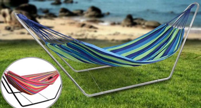 2-Person Swinging Travel Hammock with Stand & Bag - 2 Colours