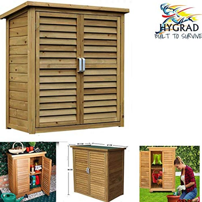 HYGRAD All Weather Wooden Outdoor Garden Lawn Cabinet Tool Shed