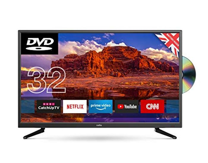 "Cello 32"" C32SFSD Superfast Smart LED TV with Built-in DVD"