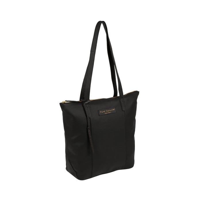 Pure Luxuries London - Jet Black 'Blendon' Leather Tote Bag