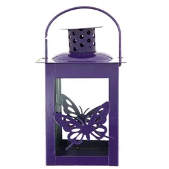 Glass Candle Lantern With Handle In Purple