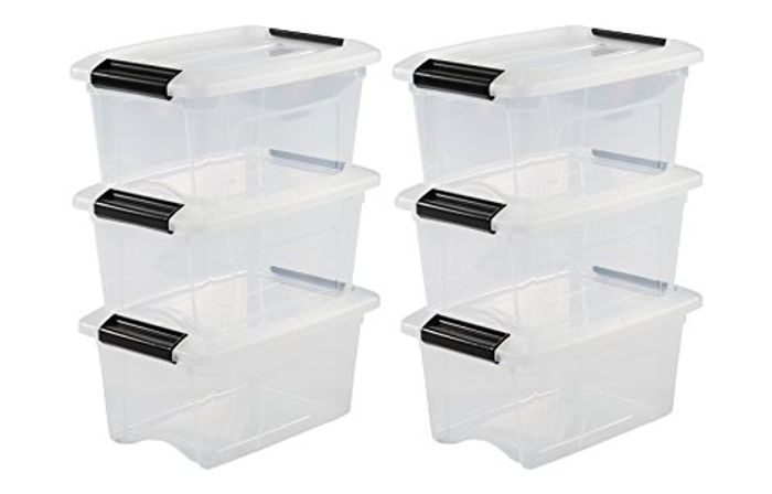 Stacking Boxes, with Snap Closure, Plastic, Transparent Lid, 5 L,