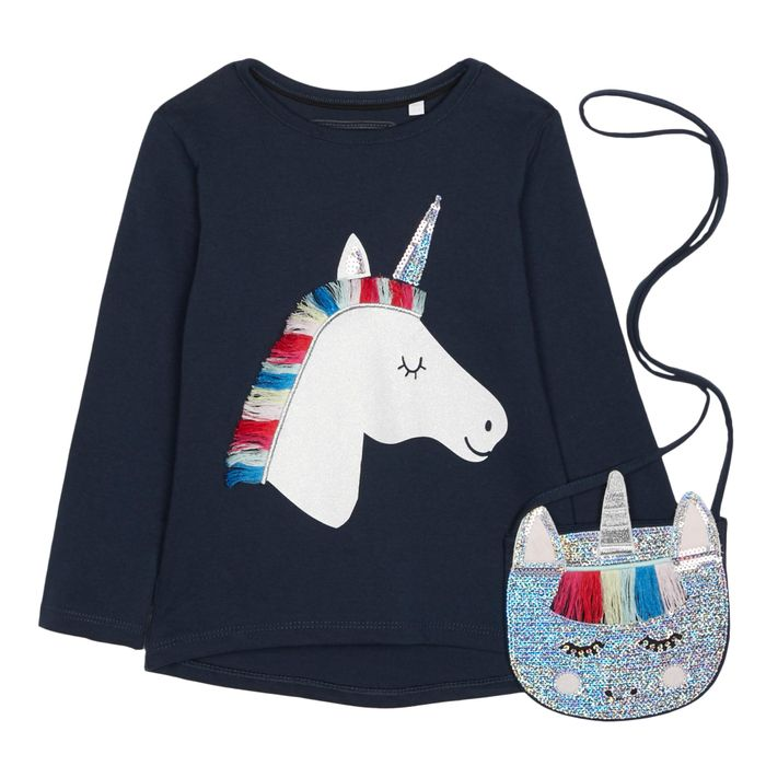 Bluezoo - Girls' Navy Unicorn T-Shirt with a Bag 3-4 Years