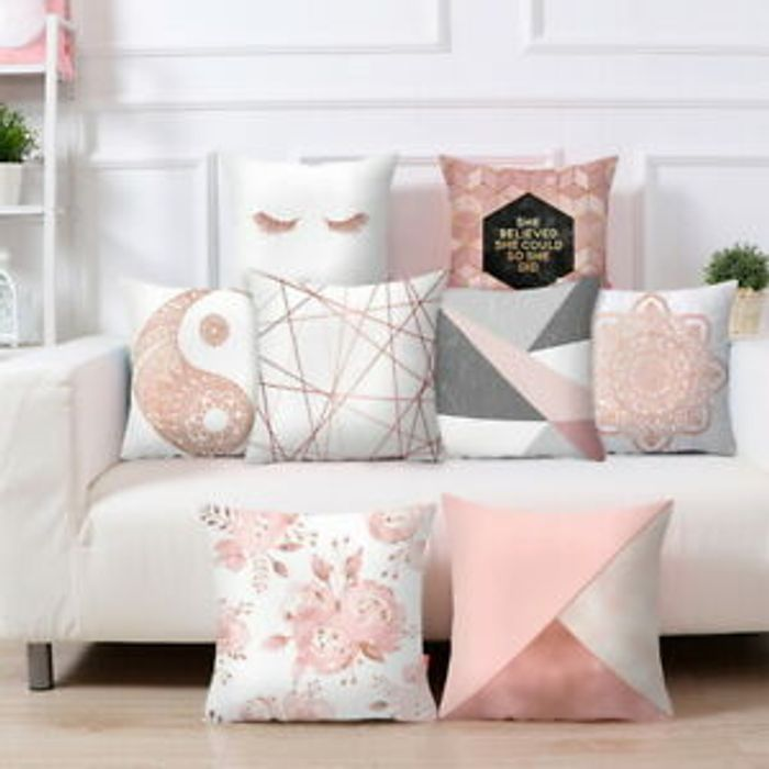 Rose Gold Cushion Covers Pink Grey Geometric Marble Pillow Case Sofa Home Decor