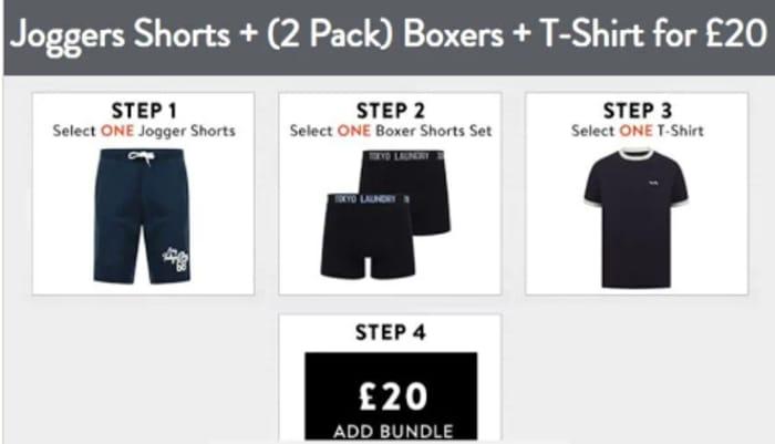 Best Price! Tokyo Laundry - Joggers Shorts + 2 Pairs Boxers + T-Shirt Bundle
