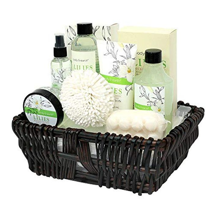 Bath Gift for Women, Body & Earth Spa Basket Gifts for Her, Lily 10pc Set