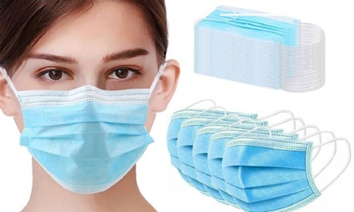Up to 100 Disposable Non-Woven Three-Ply Face Masks ( 10 for £1.09 )