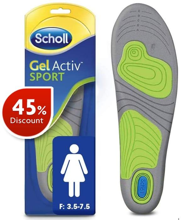 Scholl Gel Activ SPORT Insoles, WOMEN'S UK Size 3.5 to 7.5