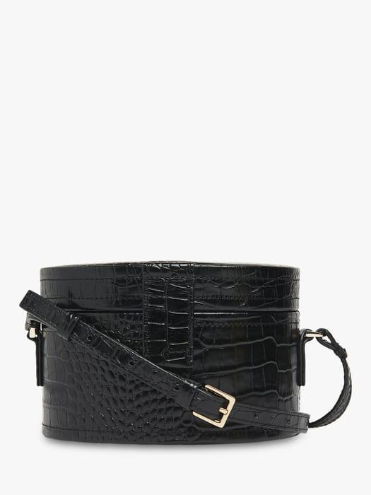 72% Discount- Whistles Novah Shiny Leather Croc Tiny Box Bag, Black