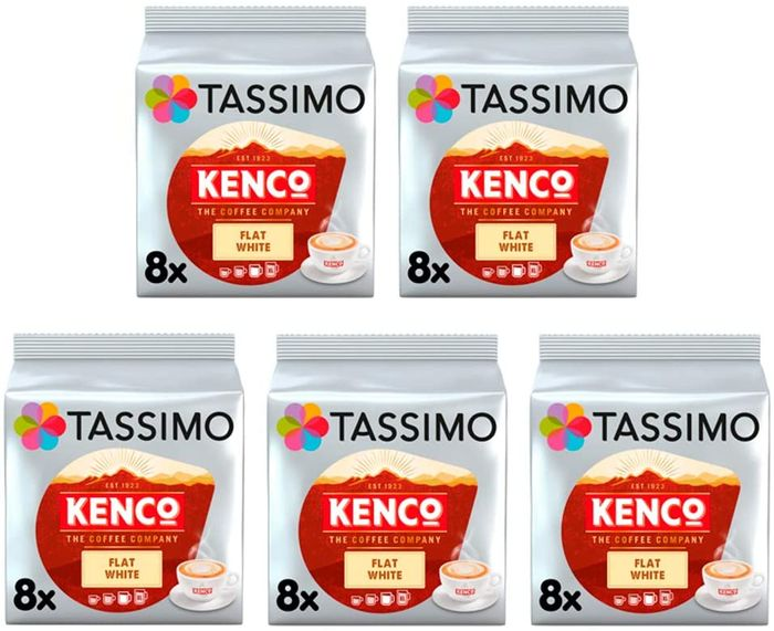 Cheap Tassimo Kenco Flat White Coffee Pods (80 Pods, 40 Servings) Only £14.21