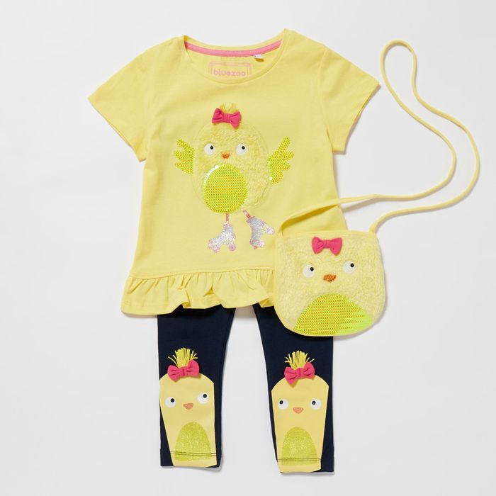 Bluezoo - Girls' Yellow Easter Chick Applique Top, Leggings and Bag Set