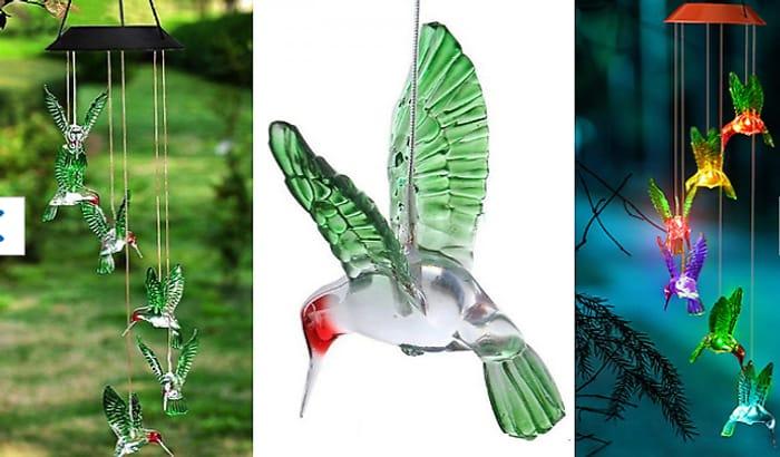 Hummingbird Colour Change Garden Solar Wind Chime - £12.99