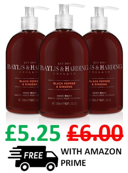 Baylis & Harding Hand Wash - Black Pepper and Ginseng - 3 PACK